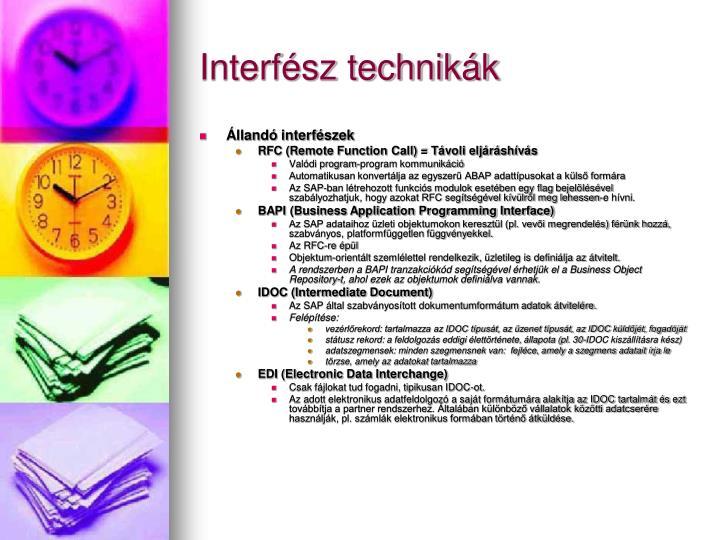 Interfész technikák
