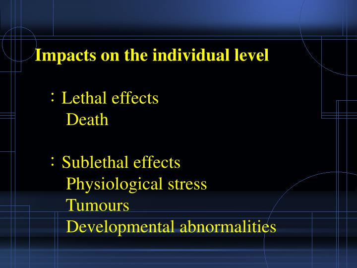 Impacts on the individual level