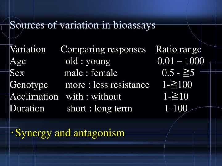 Sources of variation in bioassays