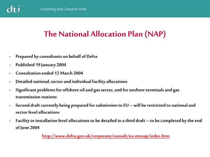 The National Allocation Plan (NAP)