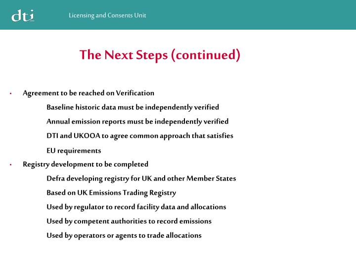 The Next Steps (continued)