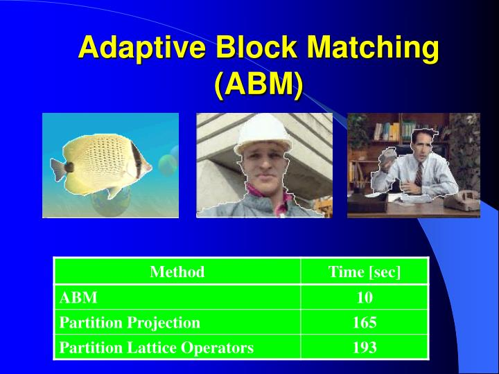 Adaptive Block Matching (ABM)