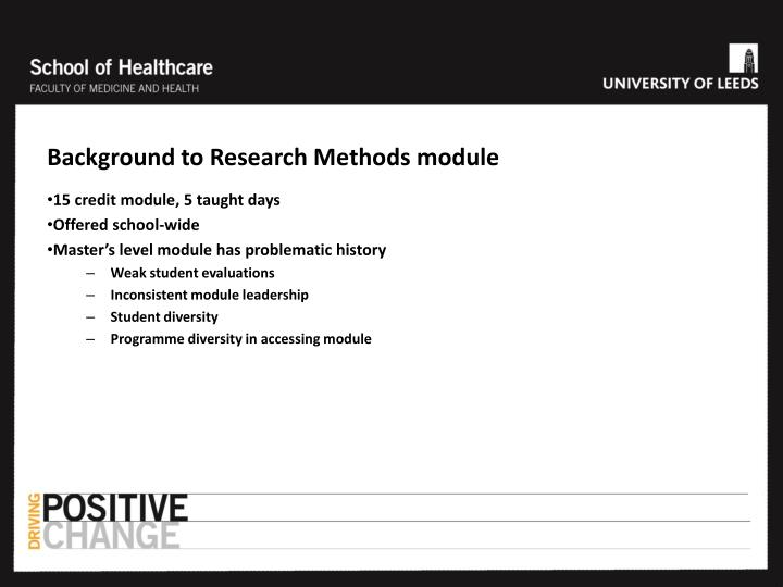 Background to Research Methods module