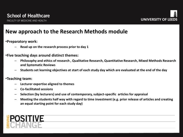 New approach to the Research Methods module