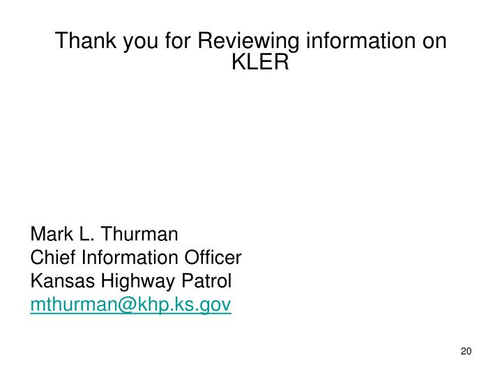 Thank you for Reviewing information on KLER