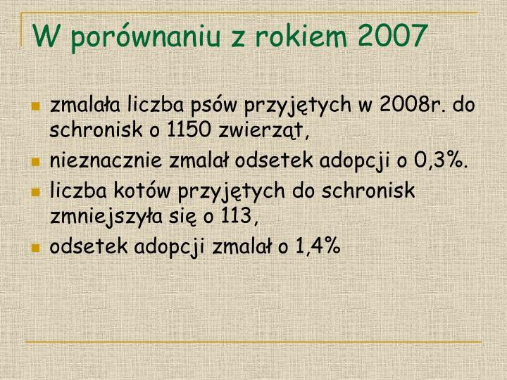 W porównaniu z rokiem 2007