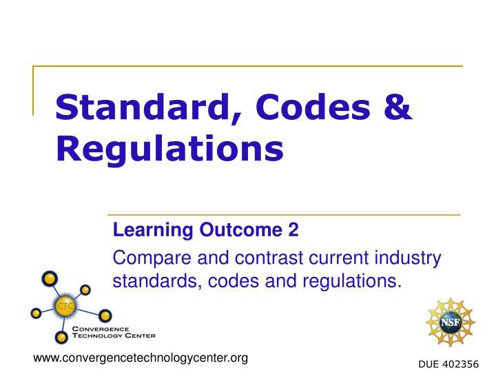 standard codes regulations n.