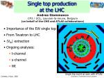 single top production at the lhc