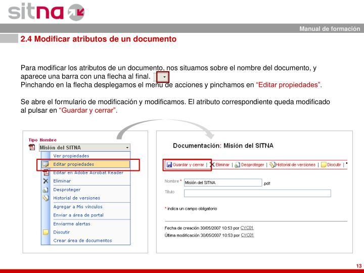 2.4 Modificar atributos de un documento