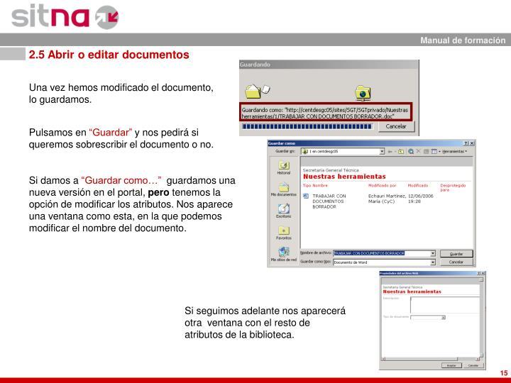 2.5 Abrir o editar documentos