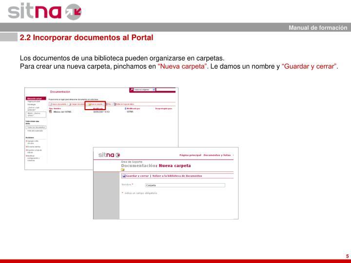 2.2 Incorporar documentos al Portal