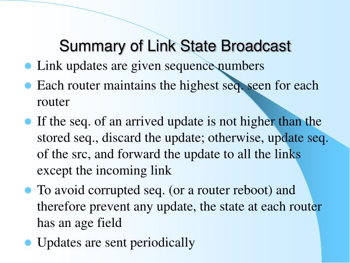 Summary of Link State Broadcast