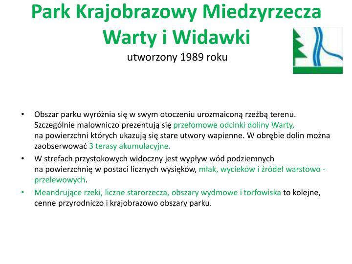 Park Krajobrazowy Miedzyrzecza Warty iWidawki