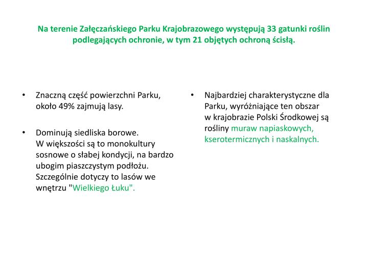 Na terenie Załęczańskiego Parku Krajobrazowego występują 33 gatunki roślin podlegających ochronie, wtym 21 objętych ochroną ścisłą.