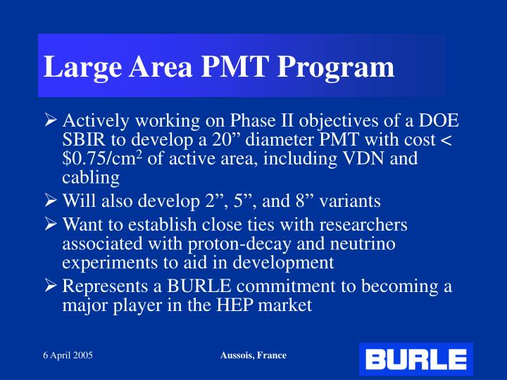 Large Area PMT Program