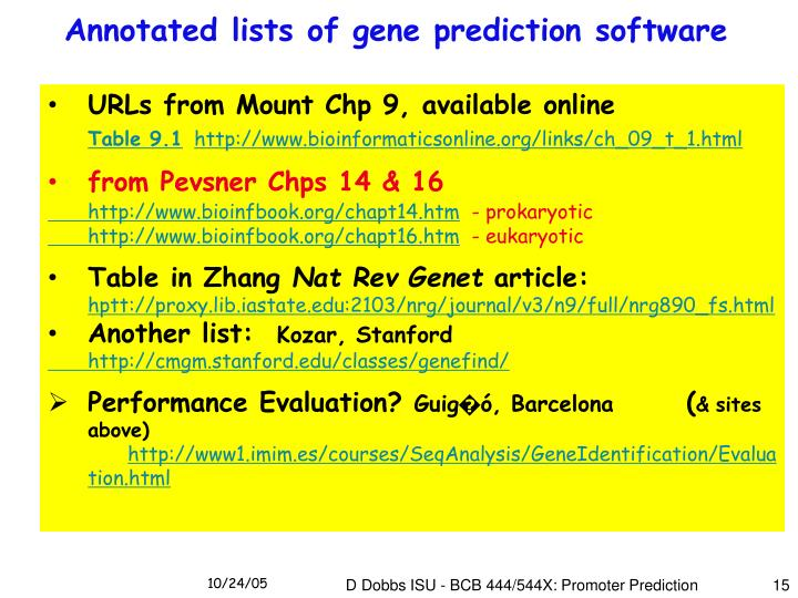 Annotated lists of gene prediction software