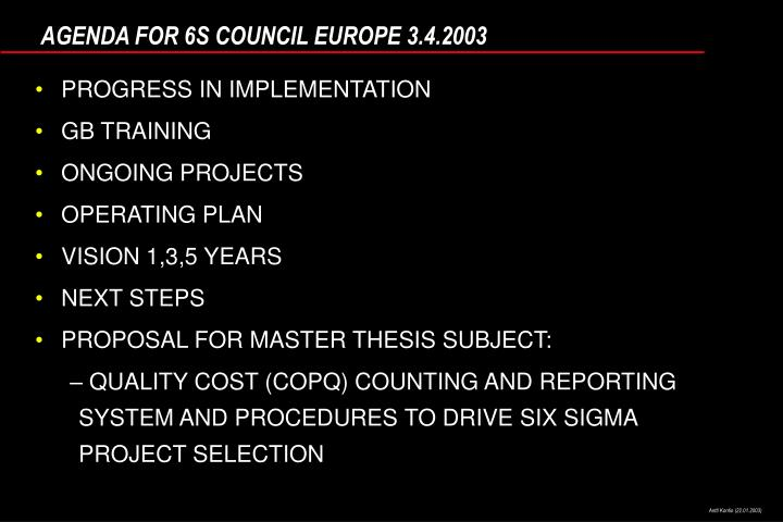 Agenda for 6s council europe 3 4 2003