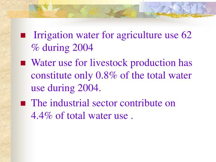 Irrigation water for agriculture use 62 % during 2004