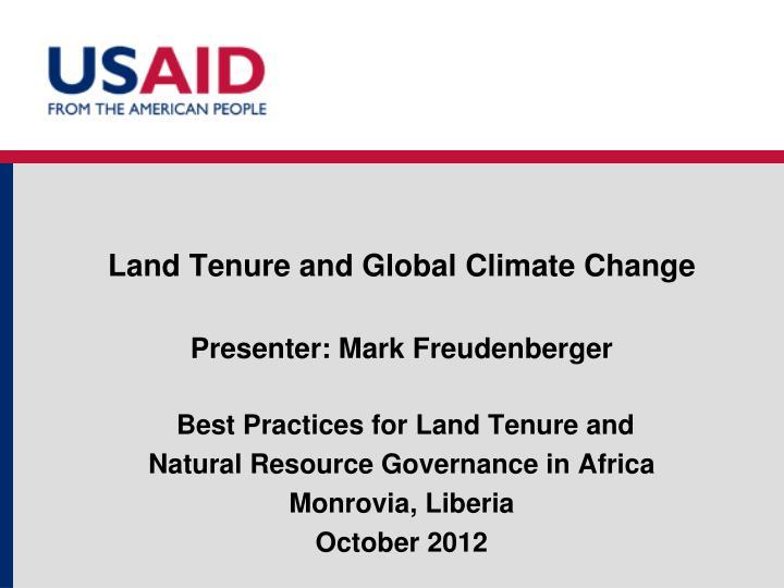 land tenure and global climate change n.