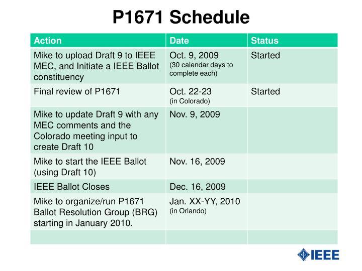 P1671 schedule