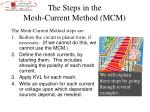 the steps in the mesh current method mcm