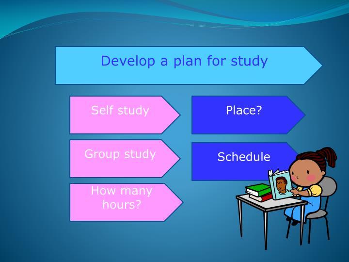 Develop a plan for study