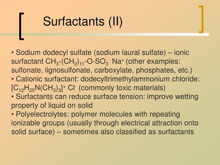 Surfactants ii