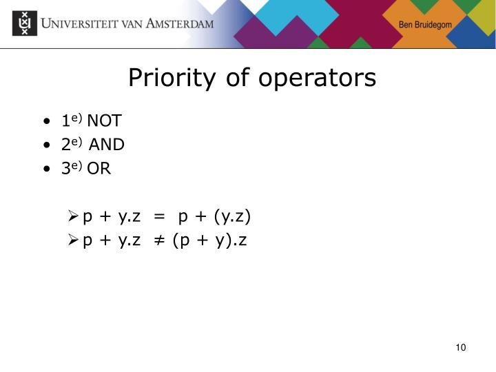 Priority of operators