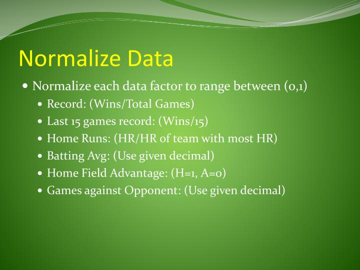 Normalize Data