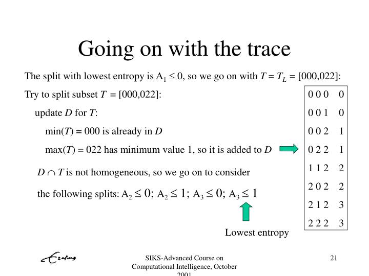 Going on with the trace