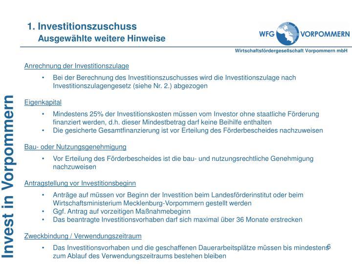 1. Investitionszuschuss