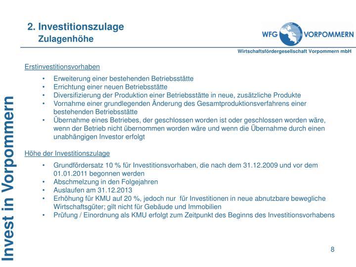 2. Investitionszulage