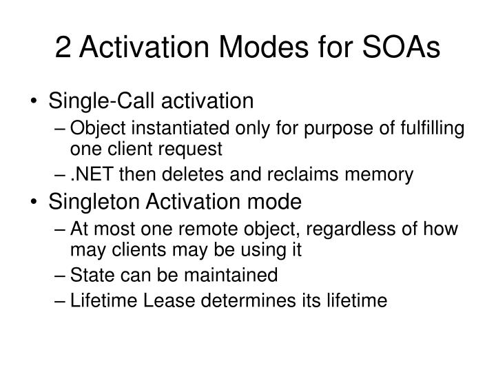 2 Activation Modes for SOAs