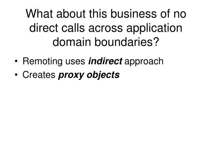 What about this business of no direct calls across application domain boundaries?