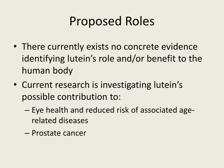 Proposed Roles