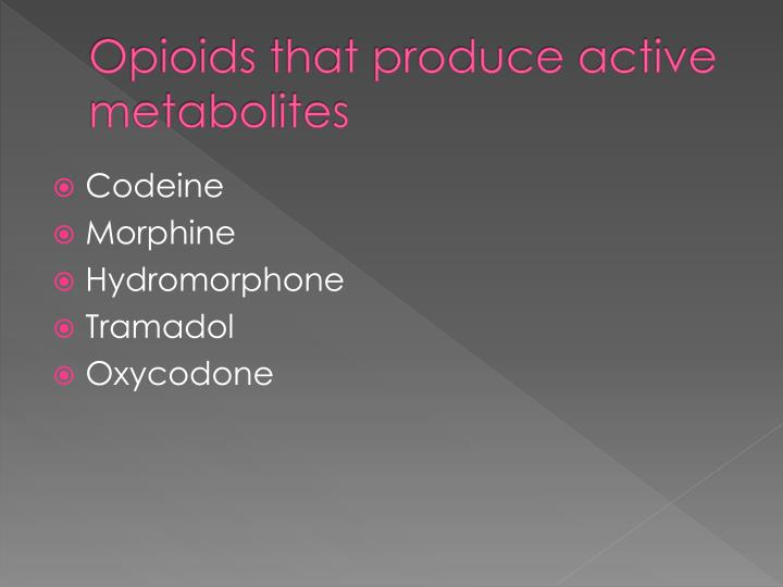 Opioids that produce active metabolites