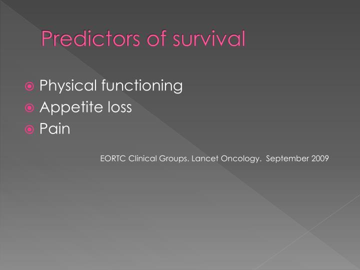 Predictors of survival