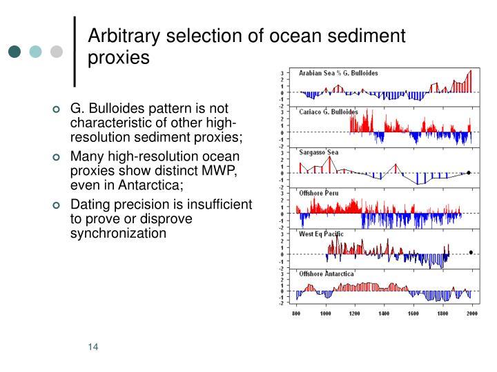Arbitrary selection of ocean sediment proxies
