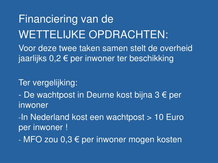 Financiering van de