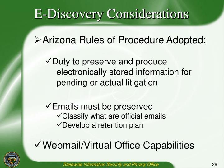 E-Discovery Considerations
