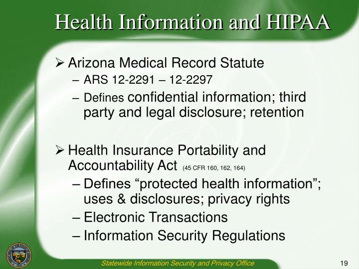 Health Information and HIPAA