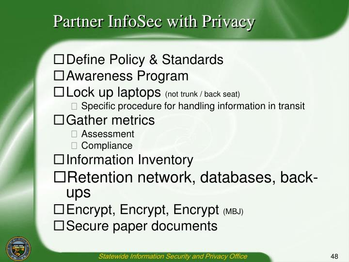 Partner InfoSec with Privacy
