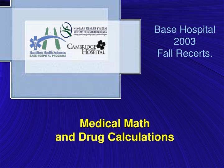 Base hospital 2003 fall recerts
