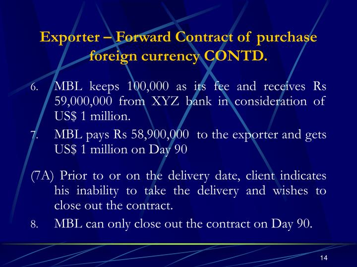 Exporter – Forward Contract of purchase foreign currency CONTD.