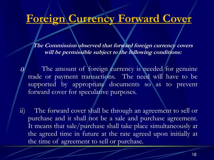 Foreign Currency Forward Cover