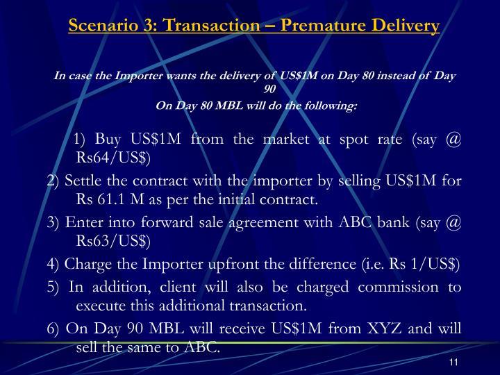 Scenario 3: Transaction – Premature Delivery