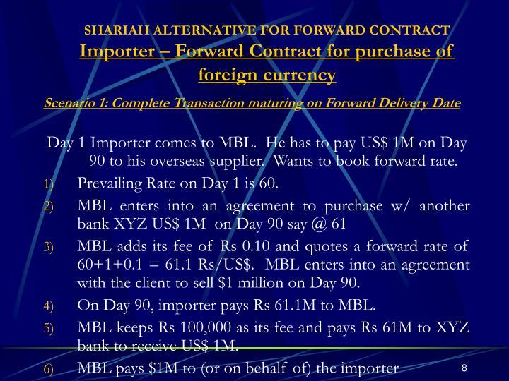 SHARIAH ALTERNATIVE FOR FORWARD CONTRACT
