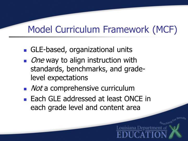 Model curriculum framework mcf