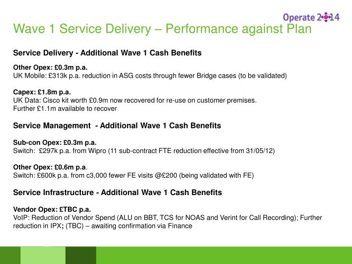 Wave 1 Service Delivery – Performance against Plan