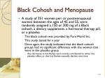 black cohosh and menopause